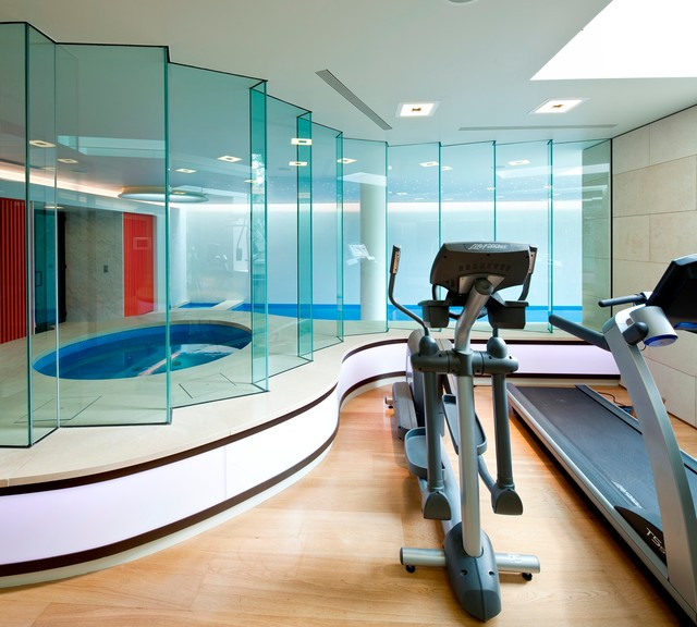 Basement Pool In London Modern Home Gym Other Metro