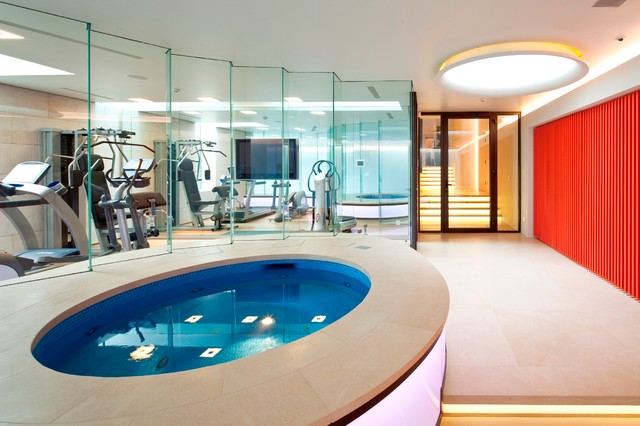 Basement pool in london modern home gym other by