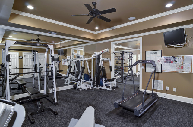Basement remodel traditional home gym atlanta by hall