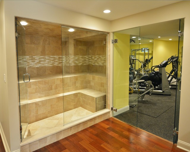 Basement retreat transitional home gym boston by