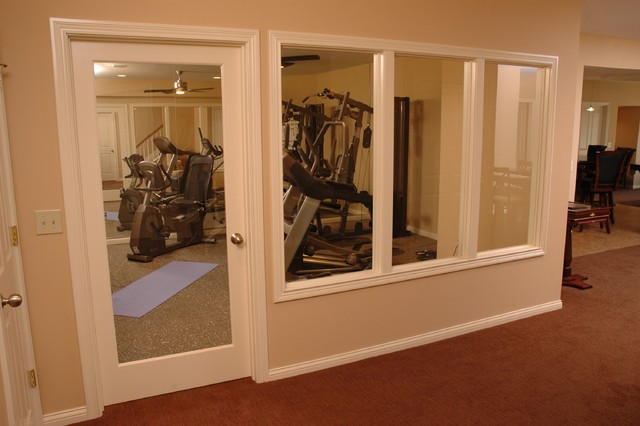 Basement With Bar Theatre And Workout Room Traditional