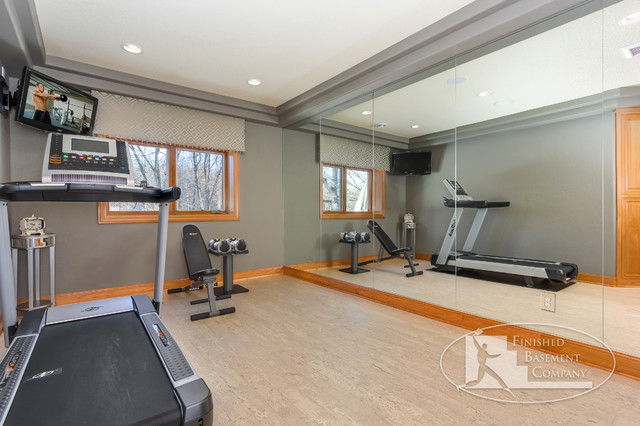 Basement Workout Area Traditional Home Gym