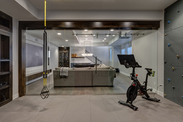 Basement Workout Gym Glass Wall Transitional Home