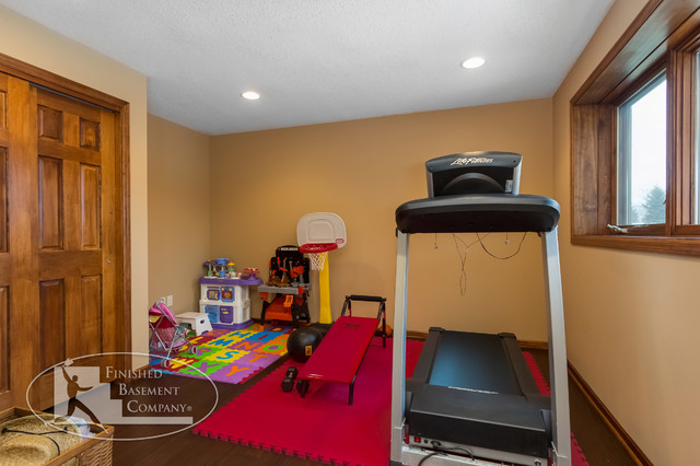 Basement workout room traditional home gym