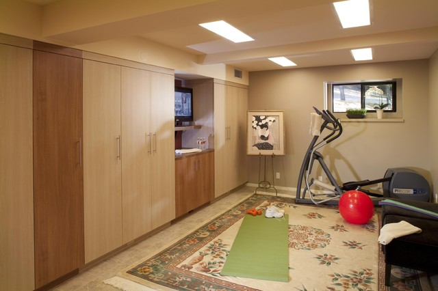 Basement yoga area home gym