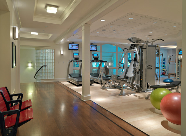Basements traditional home gym boston by jan