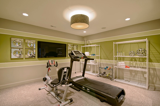 basements contemporary home gym dc metro by maxine. Black Bedroom Furniture Sets. Home Design Ideas