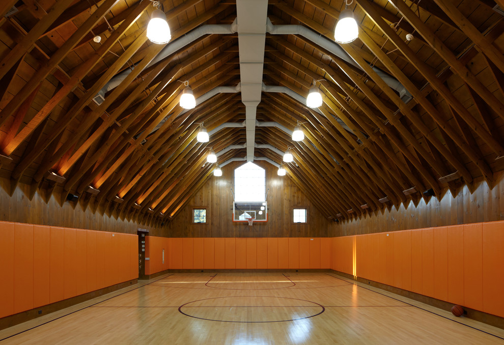 Basketball Barn Farmhouse Home Gym Providence By Andrew Chary Architect Pllc