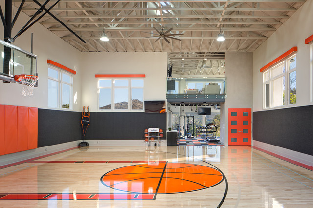 Basketball court gym modern home gym san diego for How to build a basketball gym