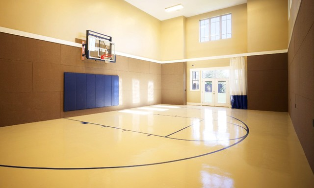 Basketball court home gym salt lake city by joe for Indoor basketball court plans