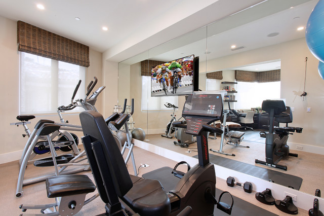 bayside custom contemporary home gym orange county by patterson custom homes. Black Bedroom Furniture Sets. Home Design Ideas