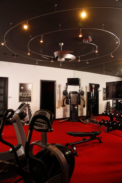 Black red home gymnasium gym modern home gym for Home gym interior design