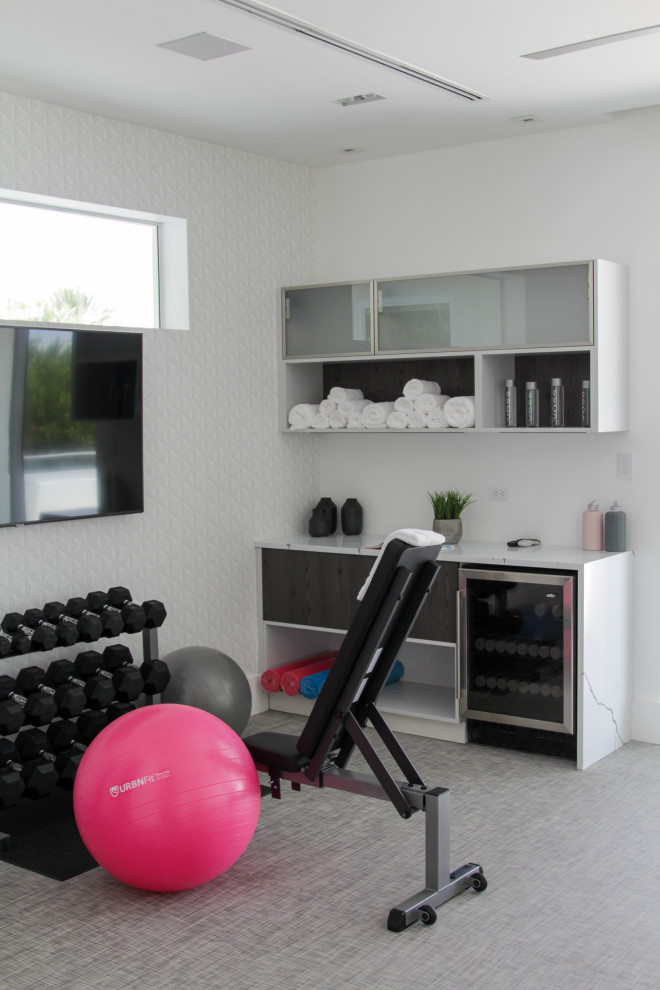 Home weight room - small contemporary linoleum floor and gray floor home weight room idea in Miami with white walls