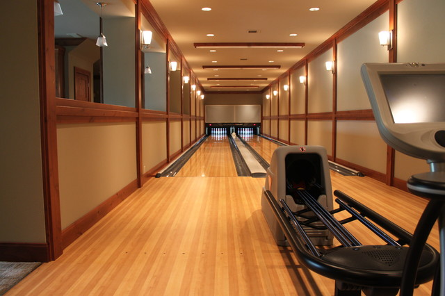 Bowling alley installation eclectic home gym seattle