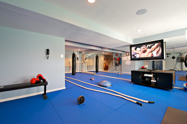 garage gym decorating ideas - Boxing Gym with in ceiling speaker installation