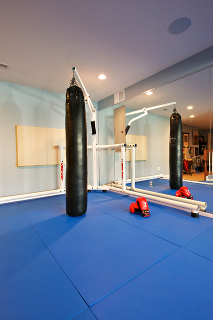 Boxing gym with indoor speaker installation traditional home