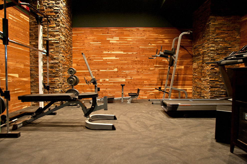 Inspiration for a contemporary gray floor home weight room remodel in Other with brown walls