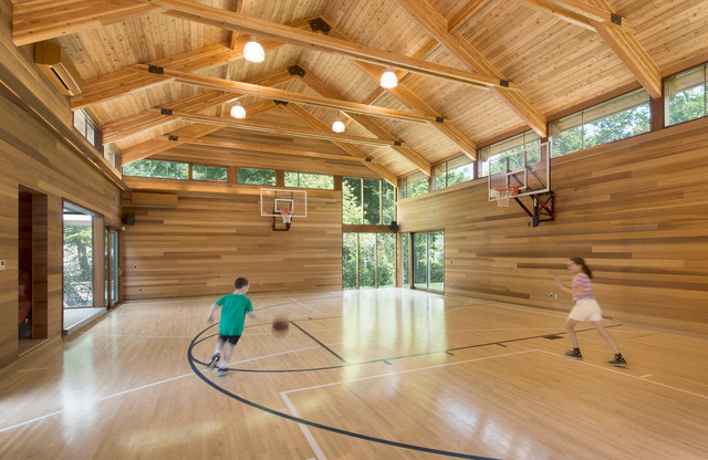 Chestnut hill prefab gym contemporary home gym for How much to build a basketball gym