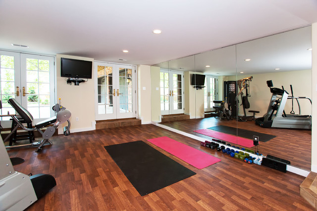 Clayton mo home addition modern home gym st louis by hibbs
