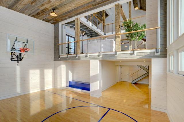 Connecticut barn pool house farmhouse home gym for Indoor basketball court installation