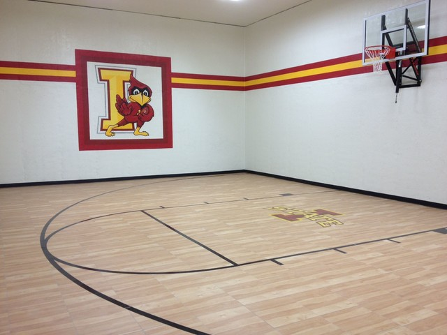 Cool indoor home basketball court and gym by snapsports for Indoor basketball court for sale