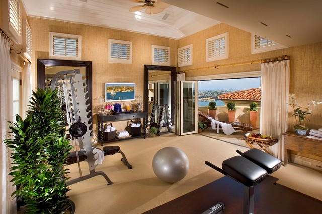 Corona Del Mar European Villa Contemporary Home Gym