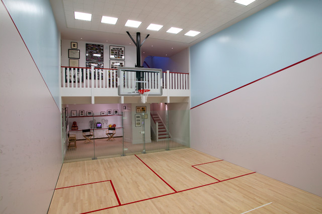 Craftsman guest house traditional home gym san for How to build a basketball gym