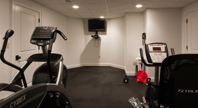 Custom Baseament for the Audiophile, the Oenophile, and the Exercise Enthusiast contemporary-home-gym
