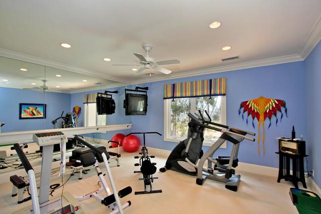 Custom home exercise room traditional gym san