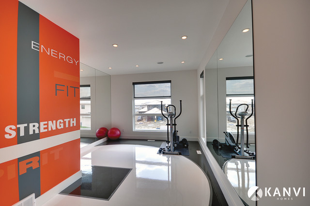 Custom Houses Contemporary Home Gym Edmonton By