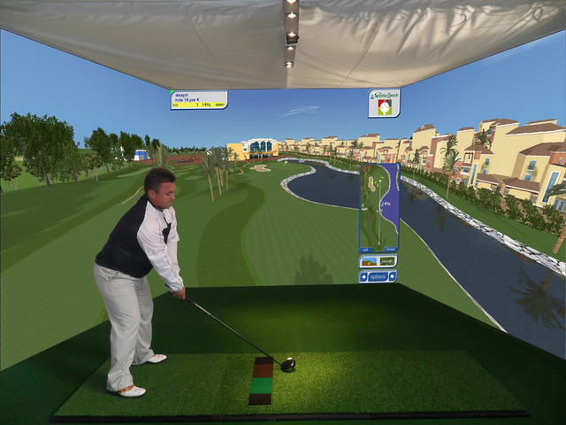custom indoor golf simulator for home family room