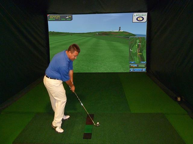 Custom indoor golf simulator for home home gym phoenix for Indoor golf design