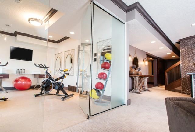 Custom Interior Glass Traditional Home Gym Edmonton