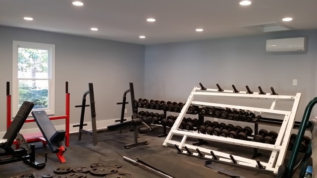 Detached garage modern home gym raleigh by tisdale