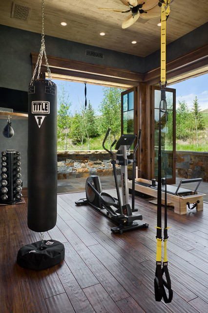 Double Arrow Residence rustic-home-gym