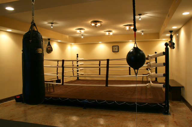Eclectic vintage style custom home modern gym