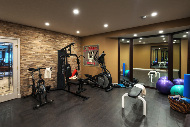 Elegant Country Home Basement Traditional Home Gym