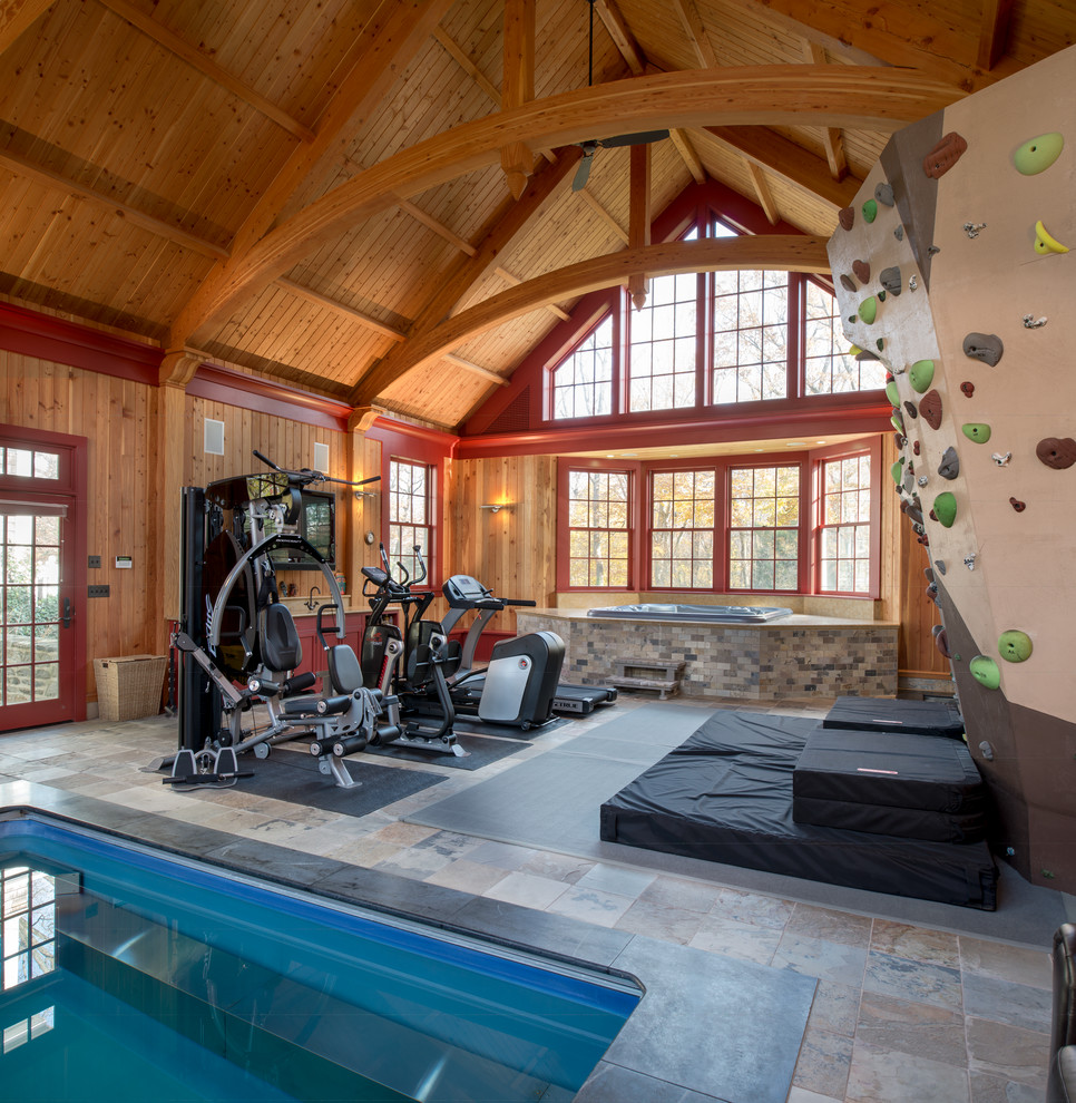 Multiuse home gym - large country slate floor multiuse home gym idea in Philadelphia