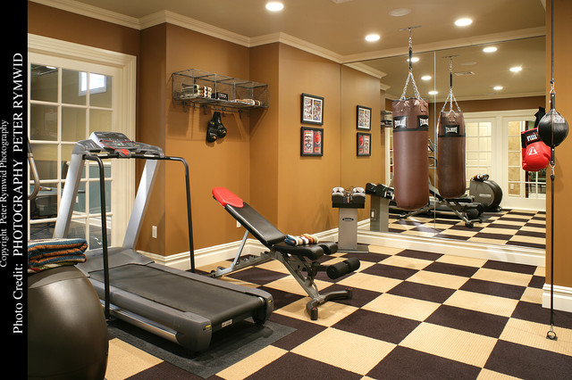 Exercise Room American Traditional Home Gym