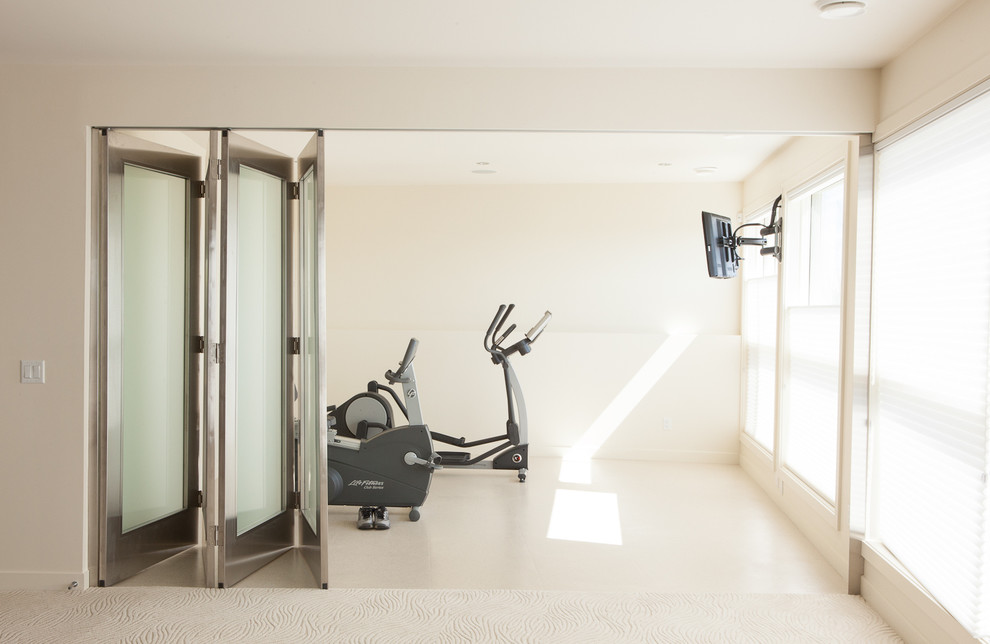 Home gym - contemporary white floor home gym idea in Edmonton with white walls