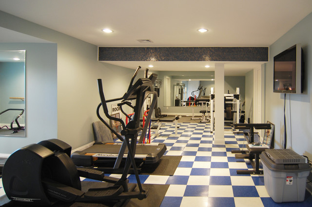 Exercise room traditional home gym new york by home design center Home fitness room design ideas