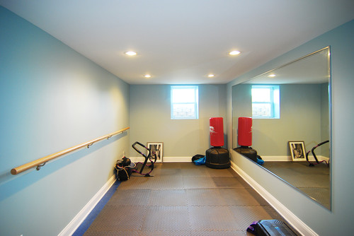 This Is A Narrow Room But It Works Well For Practice Area Would Be Even Better With Wood Flooring