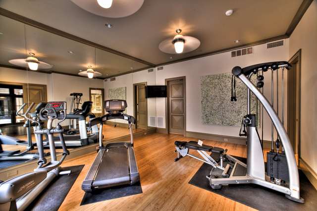 Exercise room mediterranean home gym dallas by platinum
