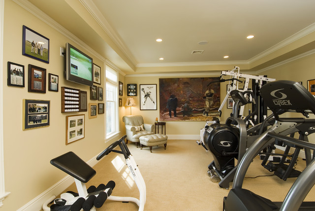 Exercise room traditional home gym bridgeport by sara hopkins