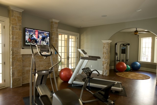 Exercise room traditional home gym indianapolis by