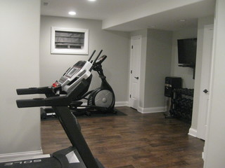 finished basement  traditional  home gym  chicago