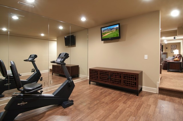 Fitness room traditional home gym minneapolis by schrader