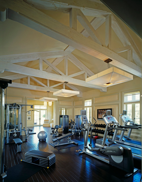 French Normandy Beverly Hills traditional-home-gym