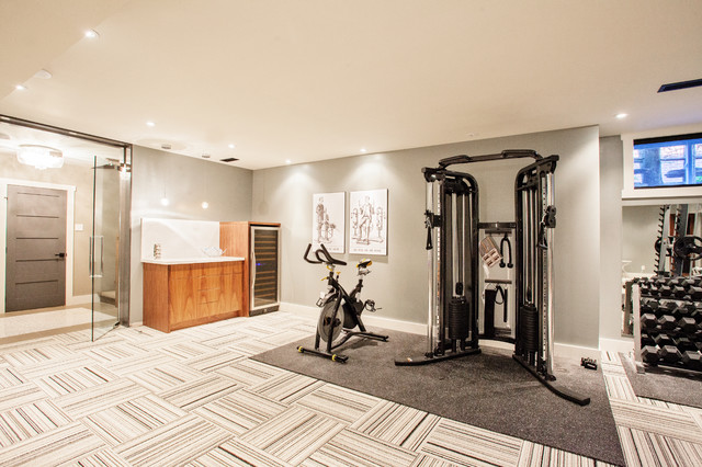 Funky Fresh Basement Contemporary Home Gym Toronto