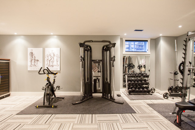 Funky fresh basement contemporary home gym toronto by